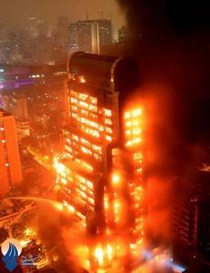 آتش سوزی یک ساختمان 25طبقه در شهر گوانگژو _ چین