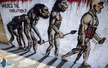 نقاشی ضدتروریستی هنرمند لبنانی روی یکی از دیوارهای شهر بیروت