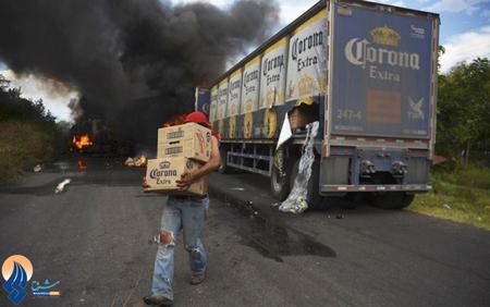 افزایش حمله و غارت باندهای سرقت در جاده های مکزیک به تریلیها و کامیونها