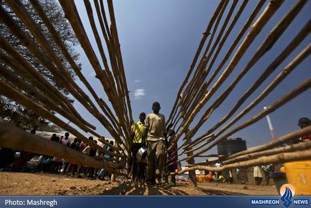 صف دریافت غذا در اردوگاه آوارگان سودان جنوبی