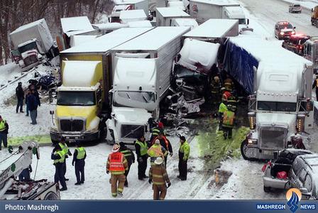 3کشته و 20 زخمی در تصادف زنجیره ای 40 خودرو در ایالت ایندیانا آمریکا