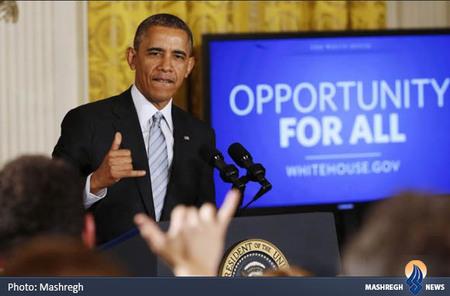 حرکت دست اوباما در کنفرانس خبری