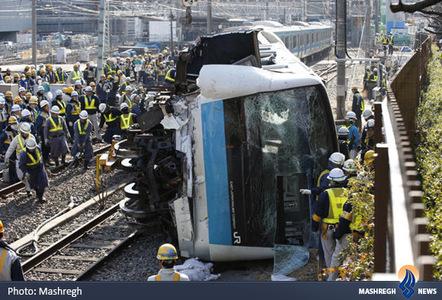 خارج شدن قطار از ریل در نزدیکی ایستگاه کاوازاکی ژاپن