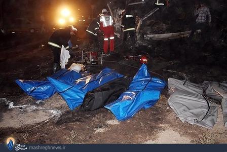 سانحه دلخراش تصادف دو دستگاه اتوبوس مسافربری در اتوبان تهران-قم با 44 کشته