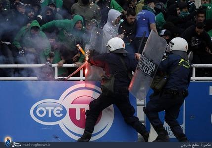 درگیری پلیس آتن با تماشاگران دیدار فینال جام حذفی یونان