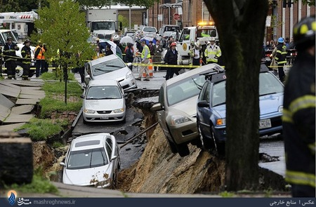 بارش شدید باران و رانش زمین در شهر بالتیمور آمریکا