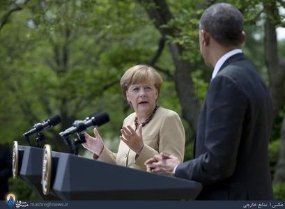 نشست خبری اوباما و مرکل در باغ گل رز کاخ سفید