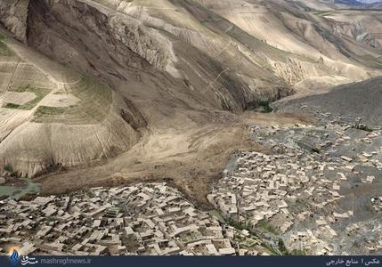 تصویر هوایی روستای بداخشان بعد از حادثه رانش زمین