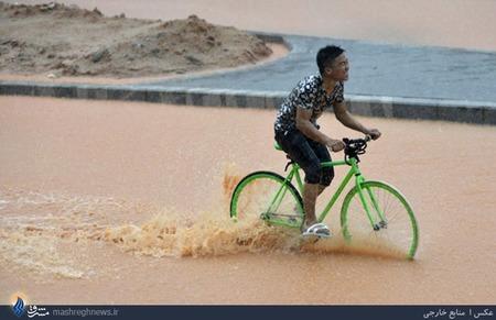بارش شدید باران و جاری شدن سیل در شهر شنژن چین