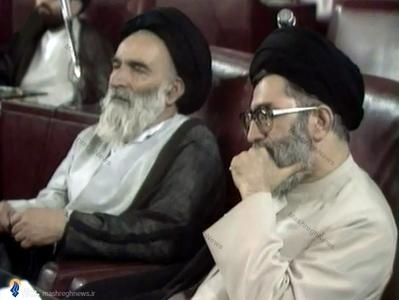 14خرداد1368، مجلس خبرگان رهبری؛ رهبر معظم انقلاب در کنار مرحوم آیت الله سید مهدی روحانی
