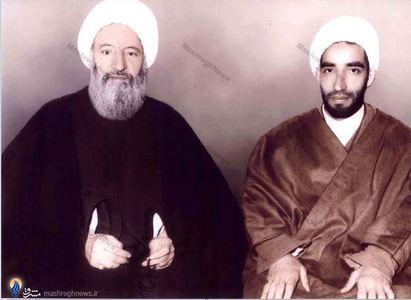 آیت الله العظمی آخوند همدانی درکنار حجت الاسلام والمسلمین احمدعلی مروج یکی از شاگردانش