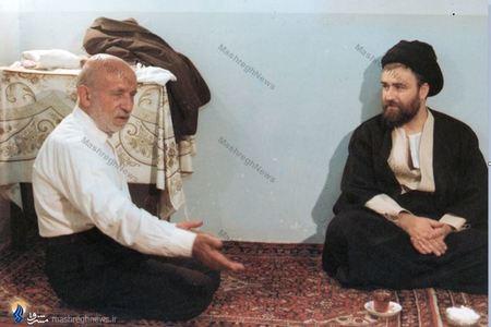 1360/ پدرِ دکتر مصطفی چمران در دیدار با مرحوم حاج سید احمد خمینی
