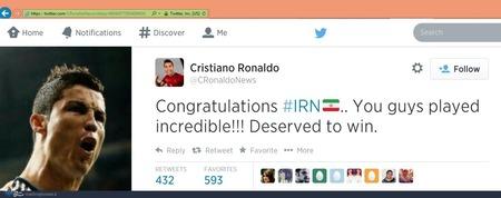 رونالدو نوشت: تبریک می گویم، باور نکردنی بازی کردید. شما مستحق برد بودید.