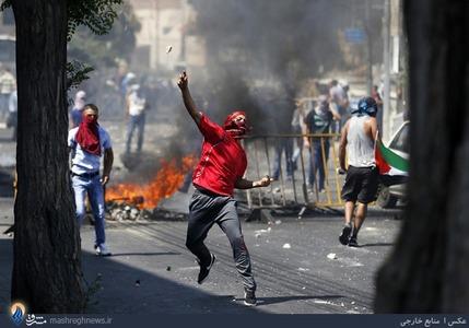 درگیری جوانان فلسطینی با سربازان رژیم اشغالگر در کرانه باختری