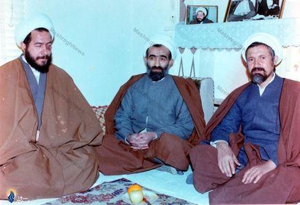 1360، از راست:آیت الله محمد مومن قمی، شهید آیت الله ربانی املشی وآیت الله مرتضی مقتدایی