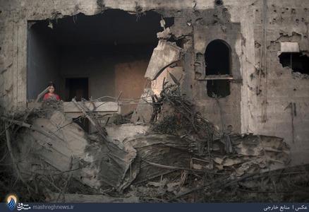 ویرانی های بجای مانده از حملات هوایی رژیم صهیونیستی به نوار غزه