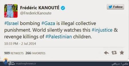 فردریک کانوته مهاجم مسلمان فرانسوی نیز به حملات هوایی نیروهای صهیونیستی واکنش نشان داد. او نیز در صفحه توئیترش نوشت: «بمباران غزه، یک مجازات دسته جمعی و غیرقانونی است. جهان در سکوت به تماشای این بی عدالتی و کشتار کودکان فلسطینی نشسته است.»