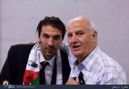 جیان لوئیجی بوفون دروازهبان تیم ملی ایتالیا بار دیگر حمایتش را از مردم فلسطین را با انداختن شالی با نقش پرچم کشور فلسطین بر گردنش اعلام کرد.