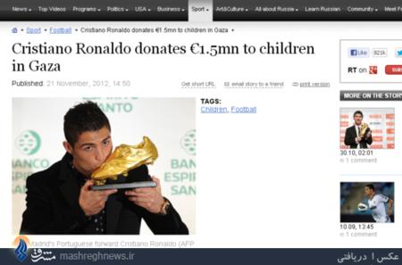 کریستیانو رونالدو، بازیکن پرتغالی رئال مادرید در سال 2012 کفش طلاییاش را در معرض حراج گذاشت و پول آن را برای کودکان فلسطین اختصاص داد و پول حاصل از فروش آن به مدارس غزه اختصاص یافت که در جریان حملات اسرائیلیها تخریب شدند.