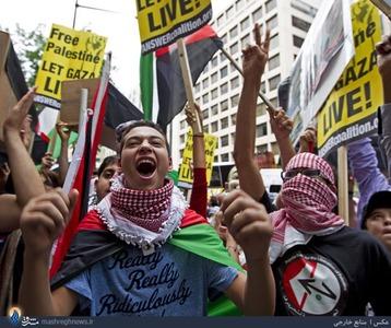 تظاهرات ضدصهیونیستی جوانان در شهر واشنگتن