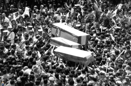 مراسم تشییع پیکر شهید دکتر سید حسن آیت از برابر مجلس شورای اسلامی