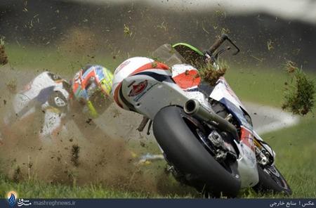 حادثه برای موتورسوار نروژی در رقابت های موتورسواری ایندیانا پلیس