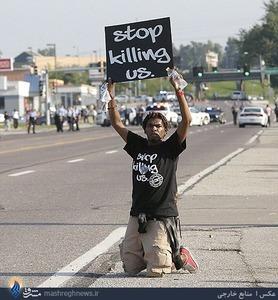 ادامه اعتراضات سیاه پوستان آمریکایی علیه پلیس و دولت در ایالت میسوری