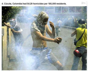 کاکوتا،کلمبیا.   54.29 مورد قتل در هر صد هزار نفر جمعیت