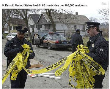 دیترویت،آمریکا.    54.63 مورد قتل در هر صد هزار نفر جمعیت