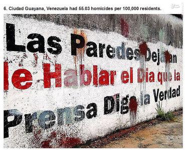 کیوداد،ونزوئلا.   55.03 مورد قتل در هر صد هزار نفر جمعیت