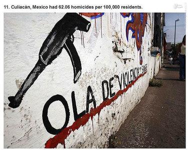 کولیاکان،مکزیک.   62.03 مورد قتل در هر صد هزار نفر جمعیت