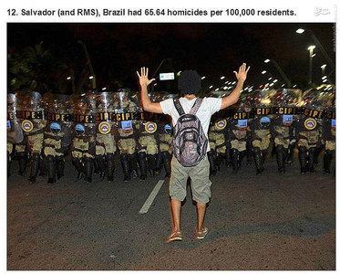 سالوادور،برزیل.    65.64 مورد قتل در هر صد هزار نفر جمعیت