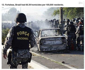 فورتالزا،برزیل.    66.39 مورد قتل در هر صد هزار نفر جمعیت