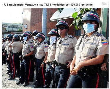 بارکئیسیمتو،ونزوئلا.   71.74 مورد قتل در هر صد هزار نفر جمعیت