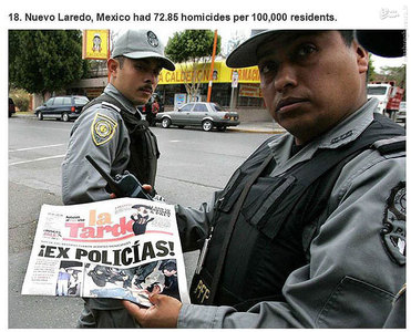نیوو لاردو،مکزیک.   72.85 مورد قتل در هر صد هزار نفر جمعیت