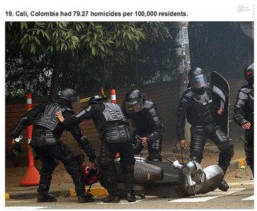 کالی،کلمبیا.    79.27 مورد قتل در هر صد هزار نفر جمعیت