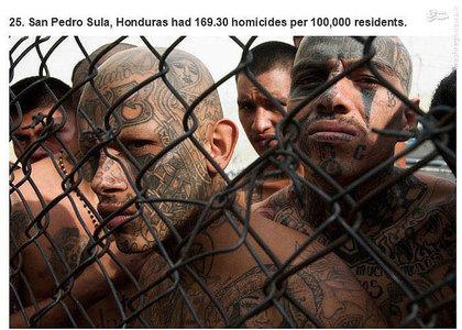 سن پدرو سولا،هندوراس.     169.30 مورد قتل در هر صد هزار نفر جمعیت