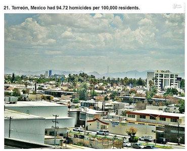 تورئون،مکزیک.   94.72 مورد قتل در هر صد هزار نفر جمعیت