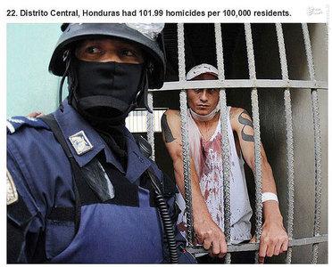 دیستیریتو سنترال،هندوراس.    101.99 مورد قتل در هر صد هزار نفر جمعیت