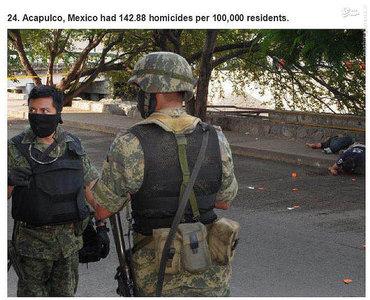 آکاپولکو،برزیل.    142.88 مورد قتل در هر صد هزار نفر جمعیت