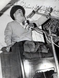 شهید آیت الله سید اسدالله مدنی در حال سخنرانی در مسجدی درهمدان