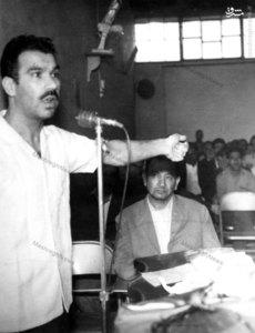شهید طیب حاج رضایی در دادگاه، شهید حاج اسماعیل رضایی در حال ایراد دفاعیات