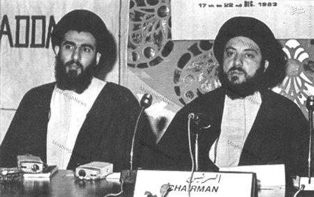 شهید آیت الله سید محمد باقر حکیم به اتفاق آیت الله هاشمی شاهرودی در اولین اجلاس مجلس اعلای انقلاب اسلامی عراق