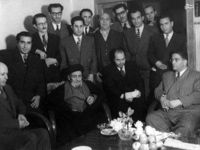 مظفر بقایی کرمانی به همراه هیئت اجرائیه حزب زحمتکشان در دیدار با آیت الله کاشانی
