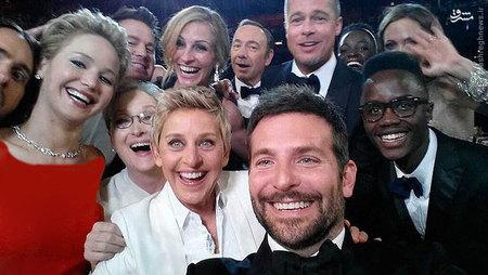 عکس سلفی سوپر استارهای هالیوود در مراسم اسکار امسال؛ این عکس رکورد بیشترین اشتراک گذاری تاریخ توییتر را شکست. عکاس: ELLEN DEGENERES