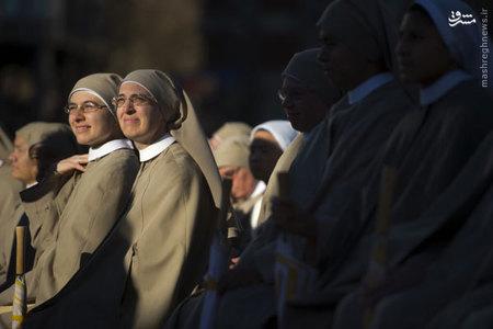 حضور راهبه ها در يك مراسم مذهبي در مادريد