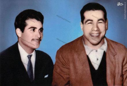 جهان پهلوان غلامرضا تختی در کنار عباس شیرخدا