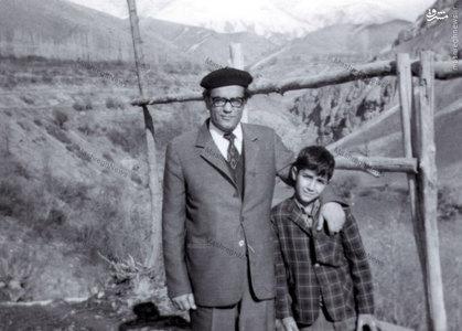 استاد سید جعفر شهیدی در کنار فرزندش شهید سید احسان شهیدی