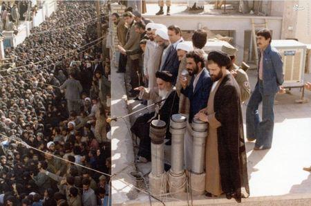دکتر صادق طباطبایی در کنار امام خمینی در یکی از دیدارهای عمومی ایشان در شهر قم