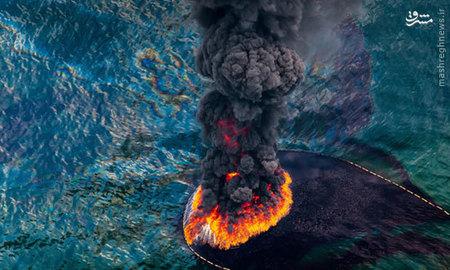 در این عکس از ?دنیل? نمایی هوایی از فاجعه آتش?سوزی در خلیج مکزیک در سال 2010 ثبت شده است.  سالانه ۱۴۰۰۰ هزار حادثه نشت نفت رخ می?دهد که بسیاری از آن?ها در ابعاد کوچک و قابل جمع?آوری هستند، اما برخی هم فاجعه?بار و آسیب?زننده?اند. مرگ و میر مرغان دریایی، ماهی?ها و پستانداران دریایی از نتایج میان?مدت این?گونه حوادث است.  باید این موضوع را در نظر گرفت که نه?تنها هر منطقه?ای ظرفیت محدودی برای تحمل دارد بلکه این ظرفیت در حال کاهش و تقاضاها در حال افزایش است. تا زمانی که این تفکر، بخشی اساسی از ذهن ما را به خود اختصاص ندهد تا بتواند سیاست?های ملی و بین?المللی را تحت تأثیر قرار دهد ناگزیریم فقط خود را به تقدیر بسپاریم.